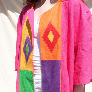 Vintage Fuschia Linen Jacket